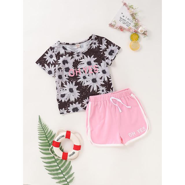 Kids Toddler Girls' Clothing Set Daily Wear Floral Print Short Sleeve Active Regular Above Knee Black 2-8 Years
