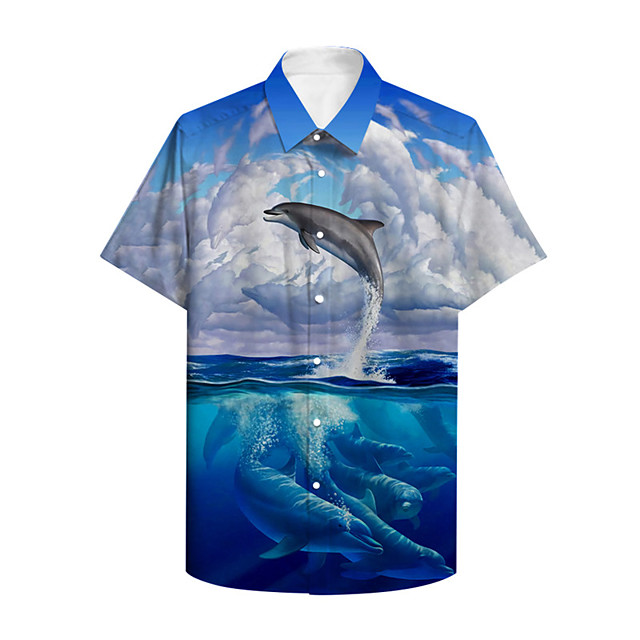 Men's Shirt 3D Print Graphic Prints Fish Animal Button-Down Print Short Sleeve Daily Tops Casual Designer Big and Tall Blue