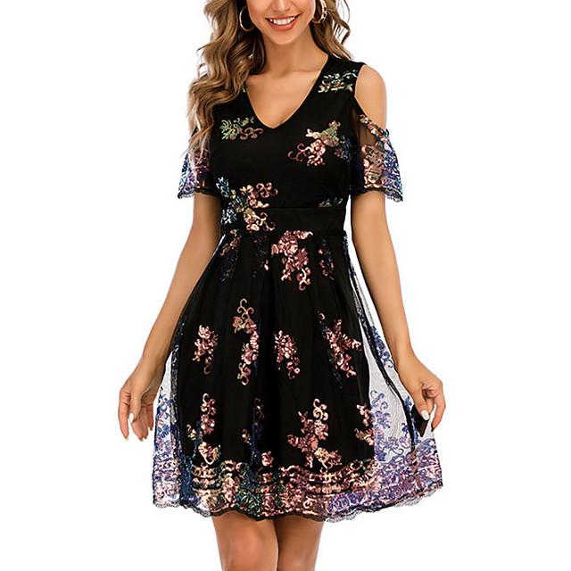 Women's A Line Dress Knee Length Dress Black Short Sleeve Floral Solid Color Color Block Patchwork Summer V Neck Casual 2021 S M L XL