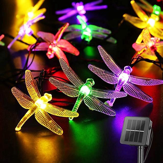 guirlandes solaires décoration de mariage 6,5 m led extérieur libellule solaire lumières solaire guirlande lumineuse pour mariage patio fête jardin décoration lampe solaire extérieure