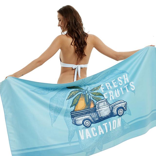Serviette de plage d'été, serviette de yoga de natation imprimée légère en microfibre à séchage rapide -160 * 80 vacances sirène / ananas / vacances à la mangue
