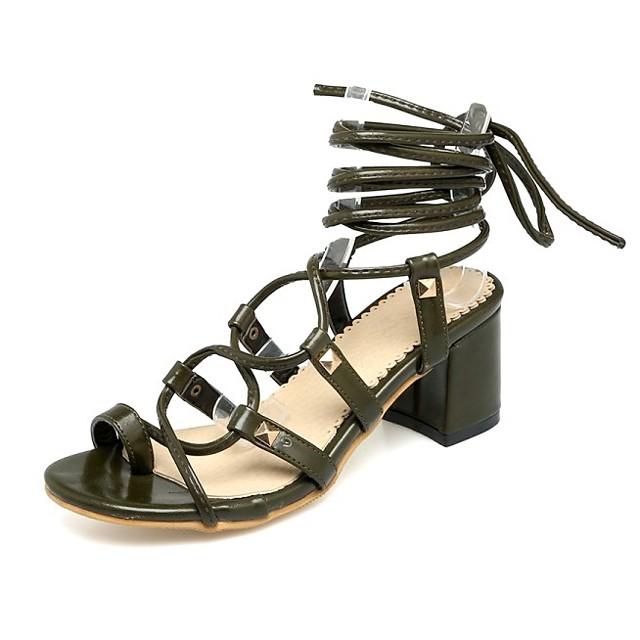 Women's Sandals Chunky Heel Round Toe PU Synthetics Black Yellow Green