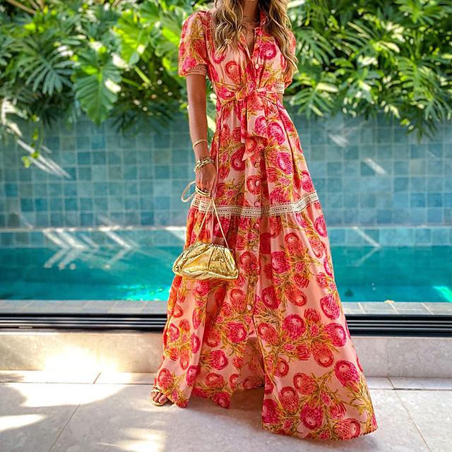 2021 المرأة قصيرة الأكمام نفخة مطبوعة الخصر النحيف تنورة طويلة أزياء بوهيمية تنورة فستان أنيق