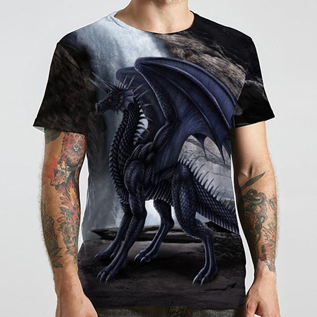 Homme Unisexe Tee T-shirt 3D effet Imprimés Photos Dinosaure Grandes Tailles Imprimé Manches Courtes Décontracté Hauts basique Designer Grand et grand Noir