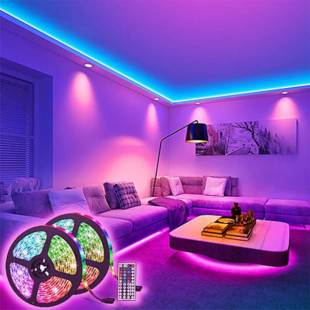 bandes lumineuses à LED ensembles de lumière à intensité variable 10m rgb tiktok lumières 600 leds 5050 smd 10mm télécommande rc cuttable 100-240 v liable auto-adhésif changeant de couleur ip44