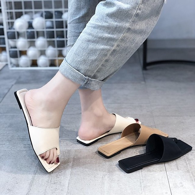 Women's Sandals Flat Heel Square Toe PU Solid Colored Black Khaki Beige