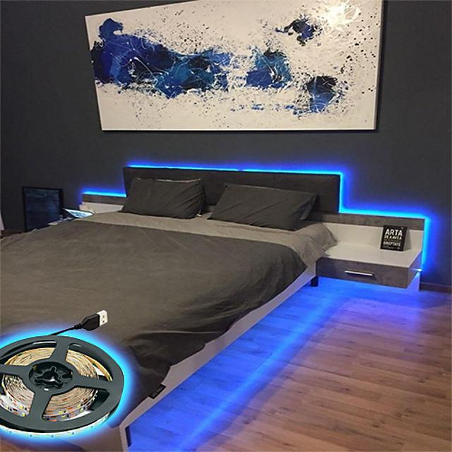 lumières de bande led rgb puissance usb 5m lumières tiktok 5v blanc chaud blanc 2835smd hdtv tv écran de bureau pc rétro-éclairage biais éclairage