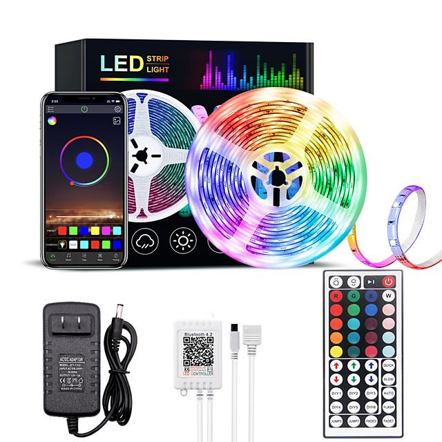 luci di striscia principali rgb bluetooth smart phone controllato 5m 10m 15m 20m ha condotto la striscia luminosa 5050 ha condotto le luci sincronizzazione con la musica e 44 tasti telecomando per
