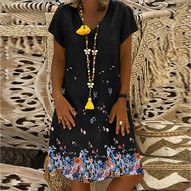 ملابس نسائية 2021ebay من أمازون بأكمام قصيرة ورقبة على شكل حرف v مطبوعة بالزهور فضفاضة من القطن والكتان فستان على الطراز البريطاني
