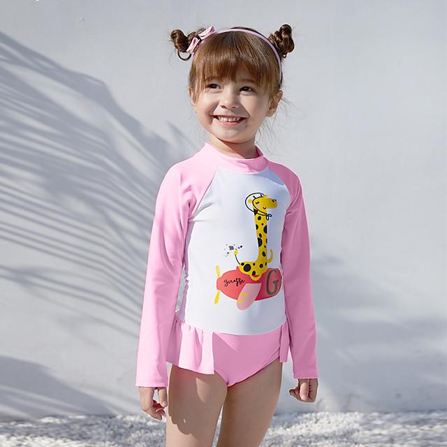 Kids Girls' Swimwear Rash Guard One Pieces Swimsuit Print Swimwear Print Blushing Pink Active Bathing Suits