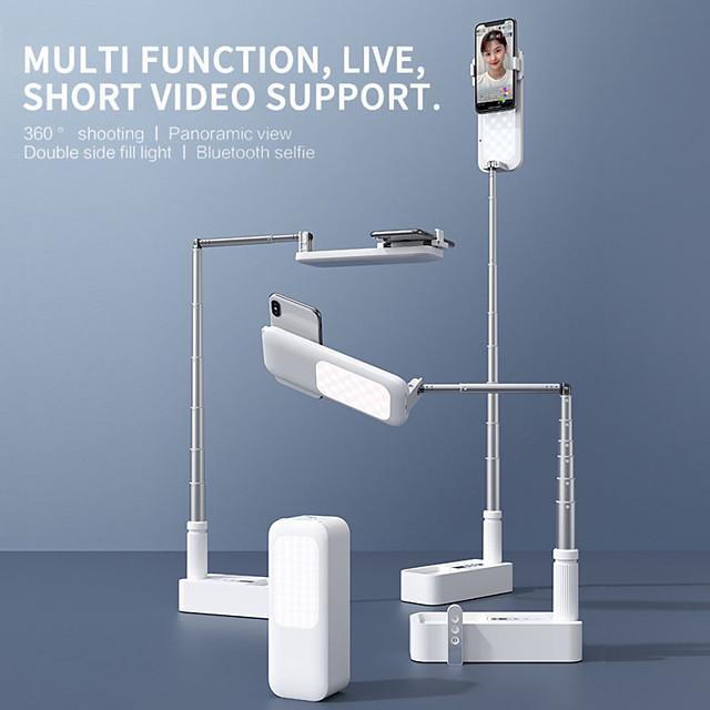 Supporto per cellulare Da scrivania Cellulare Supporto regolabile Porta cellulare con luce di riempimento Supporto da scrivania per telefono Regolabili con la luce Lega di alluminio Metallo ABS