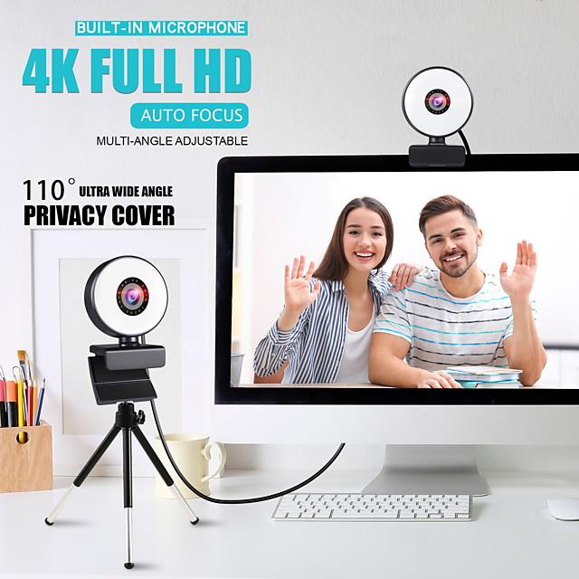 webcam 4k mini web camera per computer laptop con microfono ad anello luce video webcam 1080p 2k trasmissione in diretta messa a fuoco automatica web cam