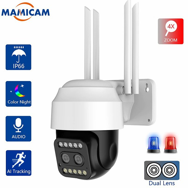 hd 1080p dual-lens ptz wifi camera outdoor auto tracking cctv 4x zoom home security ip camera pan tilt 2mp speed dome camera