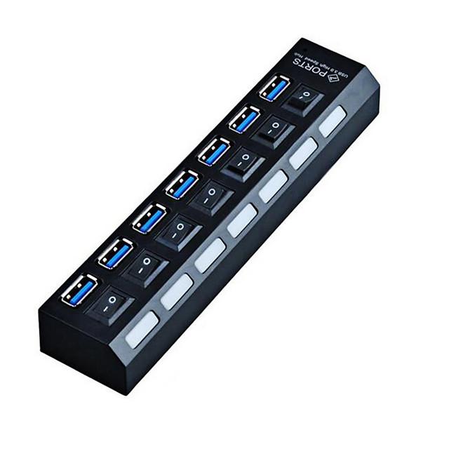 LITBest con interruttori indipendenti HUB-11 USB 3.0 a USB 3.0 Hub USB 7 Porti Per Windows, PC, laptop