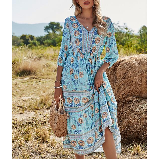نسائي فستان سوينج فستان ميدي نصف كم طباعة الربيع الصيف V رقبة العطلة عطلة بوهو شاطئ 2021 S M L XL