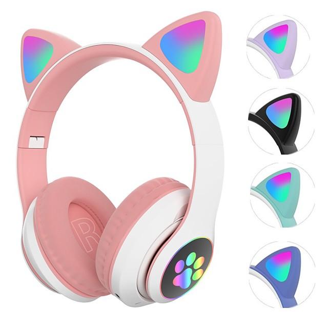 LITBest STN-28 Casque sur l'oreille Bluetooth5.0 Carte TF Prise audio 3,5 mm Mignon Lampe LED Allumage Auto Avec contrôle du volume pour Apple Samsung Huawei Xiaomi MI Casque pour enfants