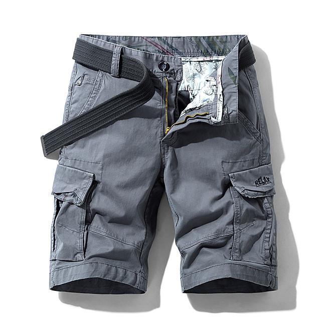 Homme Short Shorts Cargo Short Pantalon Couleur Pleine Armée verte Kaki Gris Claire Gris Foncé