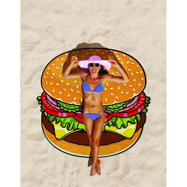 polyester vezel strandhanddoek, hamburger frietjes print sneldrogend en zandbestendig geschikt voor strand, zwembad, reizen en kamperen compact en lichtgewicht extra groot 150x150cm modern & uniek design bedrukt
