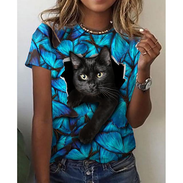 Dames 3D Cat T-shirt Kat Grafisch 3D Opdruk Ronde hals Basic Tops blauw