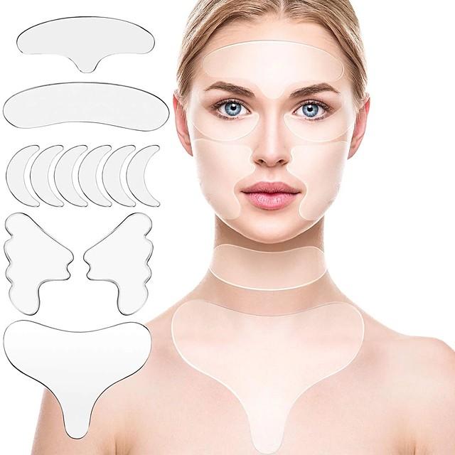 Silicone réutilisable enlèvement des rides autocollant visage front cou oeil autocollant pad anti-rides vieillissement peau lifting soins patch