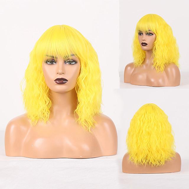 Perruque de cosplay Perruque Synthétique Bouclé Boucle lâche Coupe Droite Perruque Jaune Cheveux Synthétiques Femme Sans odeur Design à la mode Doux Jaune