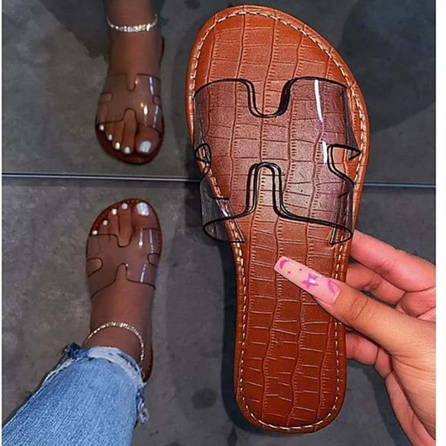 Women's Sandals Flat Heel Round Toe PU Solid Colored Dark Brown