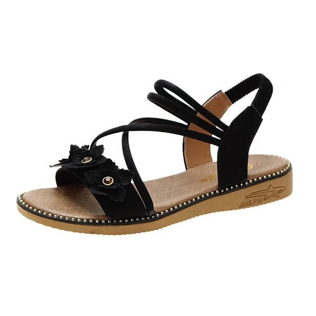 Girls' Sandals Flower Girl Shoes Princess Shoes School Shoes Rubber PU Little Kids(4-7ys) Big Kids(7years +) Daily Party & Evening Walking Shoes Rivet Flower Button Black Pink Khaki Spring Summer
