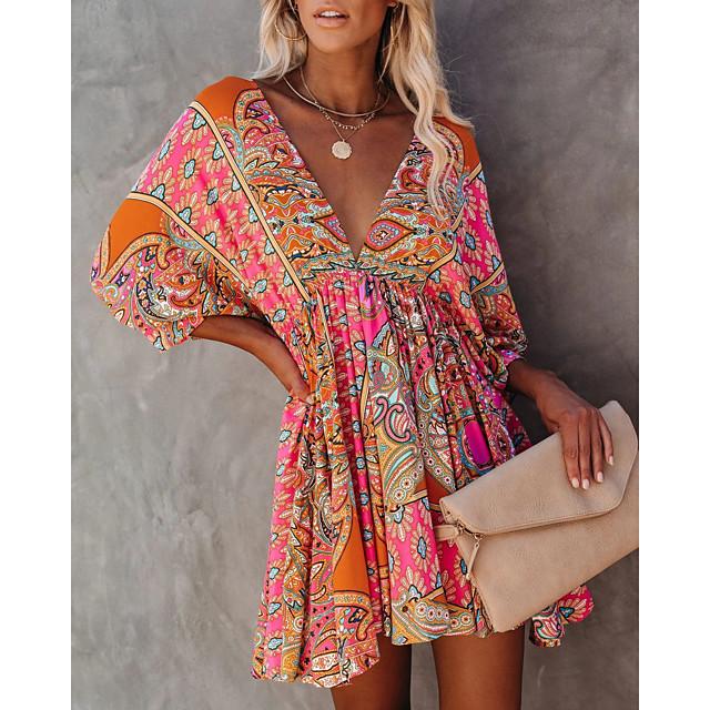 2021 لربيع وصيف أوروبا وأمريكا حجم كبير عبر الحدود رغبة صريحة أمازون إيباي مثير الخامس الرقبة الخصر فستان مطبوع