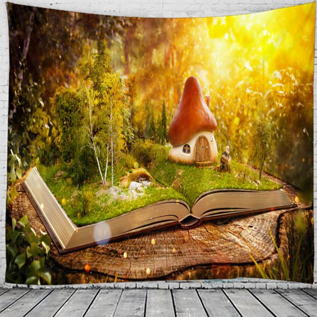 champignon maison sur le livre tapisserie murale art décor couverture rideau suspendu maison chambre salon décoration belle vue depuis la fenêtre