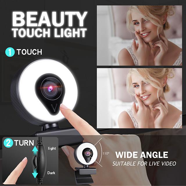 webcam con microfono messa a fuoco automatica 3 gradi di luce ad anello abbellisci illuminazione video webcam 1080p per trasmissione in diretta versione web cam 2k
