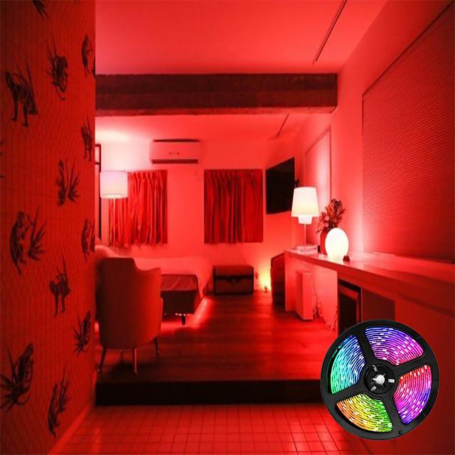 lumini cu bandă cu LED-uri impermeabile rgb 5m lumini tiktok 300 leduri 2835 8mm flexibile și ir 44key telecomandă conectabile auto-adezive schimbătoare de culoare