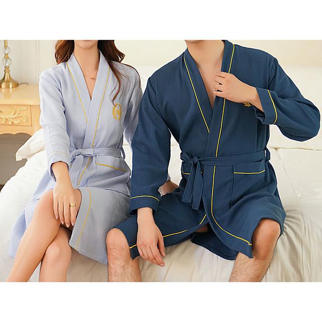 peignoir de qualité supérieure, couple bleu clair / bleu nevy long 100% coton peignoir absorbant l'eau serviette de bain couple à séchage rapide