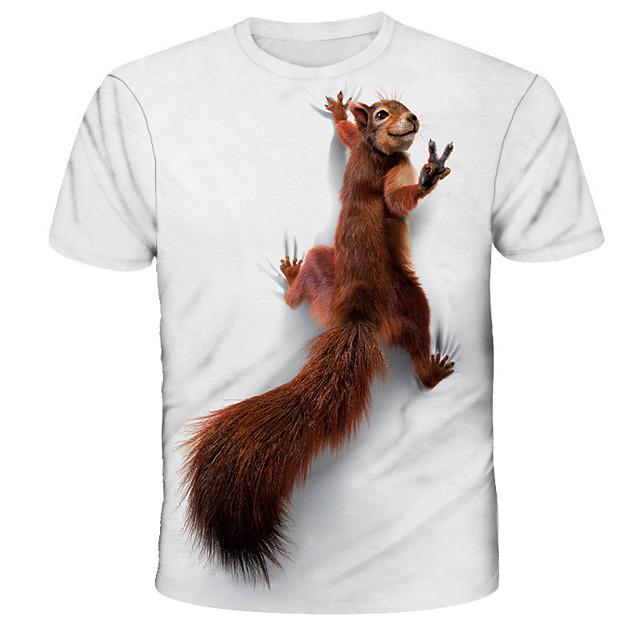 Voor heren T-shirts T-shirt 3D-afdrukken Grafisch Eekhoorn dier Opdruk Korte mouw Dagelijks Tops Basic Ontwerper Street chic overdreven Ronde hals Wit blauw Rood