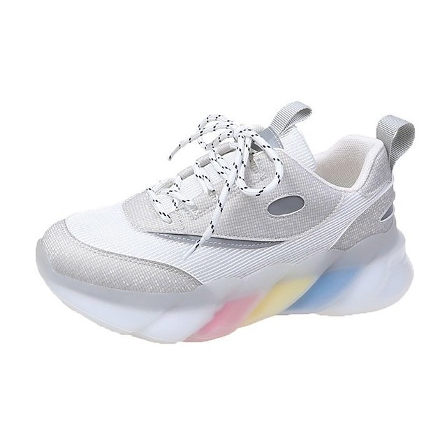 Women's Trainers Athletic Shoes Flat Heel Round Toe Sporty Casual Daily Walking Shoes PU Lace-up Color Block Beige Gray