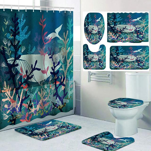 ensemble de quatre pièces de rideau de douche imperméable et coussin à crochet pour la décoration décontractée de la salle de bain