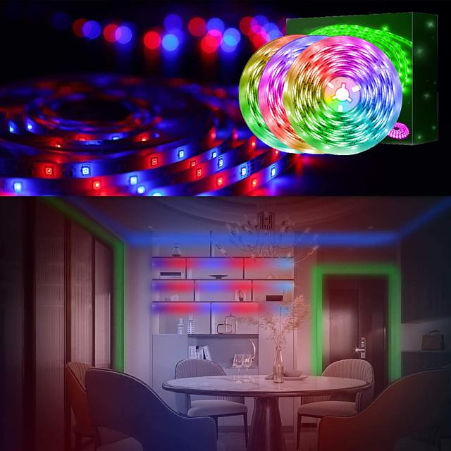 luci di striscia a led (3x5 m) 15 m 2835 rgb striscia luminosa luci a corda che cambiano colore kit di luci a nastro flessibile con telecomando a 44 tasti