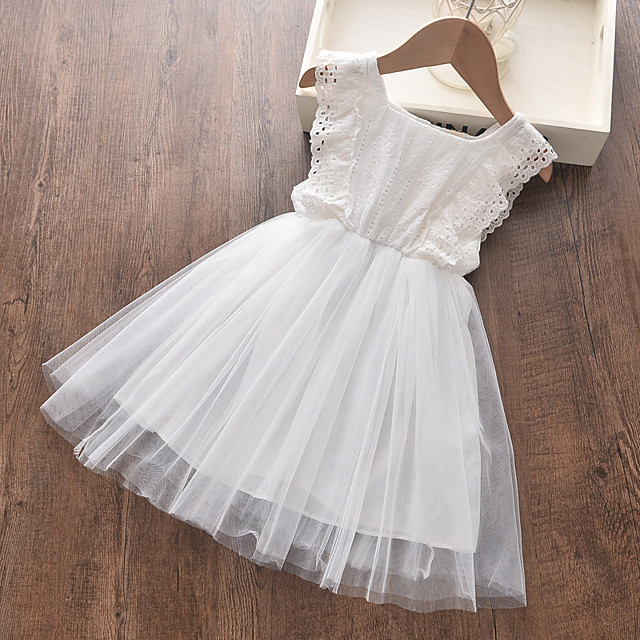Kids Little Girls' Dress Solid Colored White Dresses