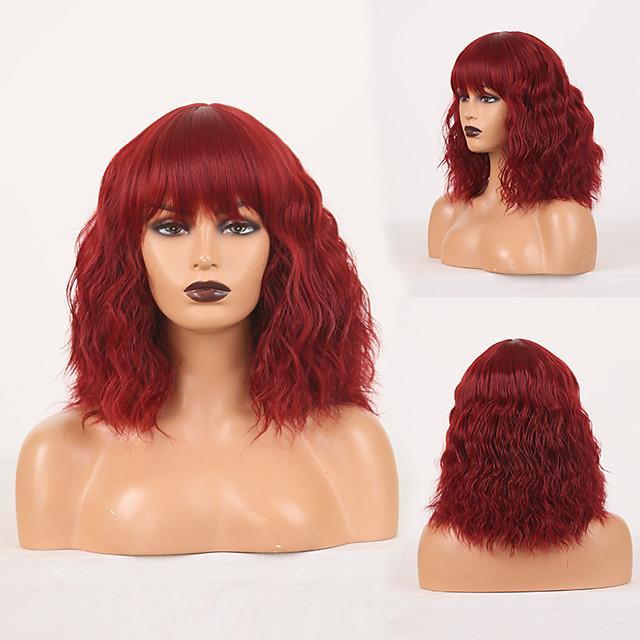 Perruque de cosplay Perruque Synthétique Ondulé Boucle lâche Coupe Droite Perruque 14 pouces Rouge Bordeaux Cheveux Synthétiques Femme Sans odeur Design à la mode Doux Bourgogne