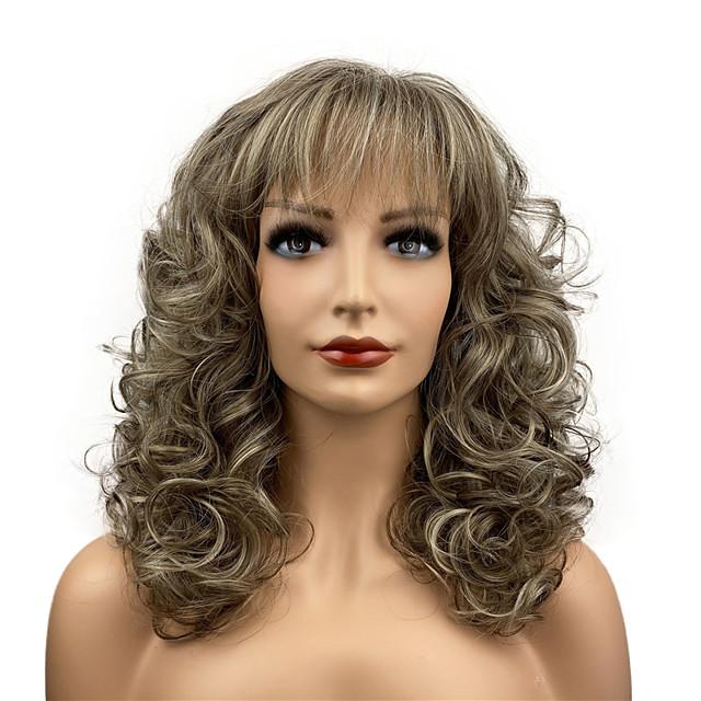 Perruques de cheveux synthétiques résistants à la chaleur ondulés de longueur moyenne pour femmes filles avec frange soirée soirée