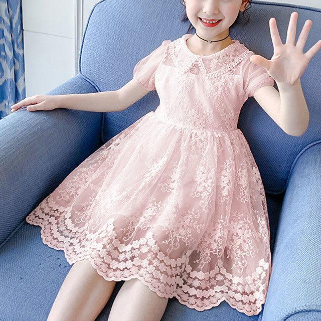 Kids Little Girls' Dress Solid Colored Blushing Pink Dresses