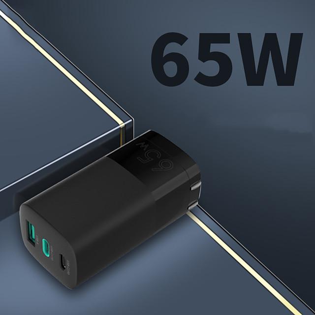 65 W Puissance de sortie USB C Chargeur rapide Chargeur de portable Portable Sorties Multiples Charge Rapide RoHs CE CCC Pour Mobile iMac