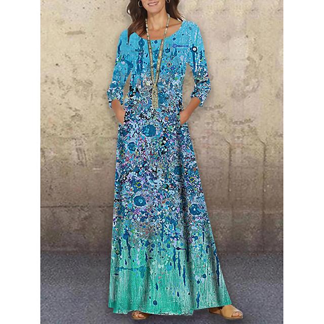 Women's Shift Dress Maxi long Dress Green 3/4 Length Sleeve Floral Print Print Spring Summer Round Neck Casual Holiday 2021 S M L XL XXL 3XL