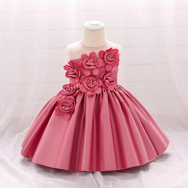 여자 아기 액티브 스트리트 솔리드 컬러 민소매 무릎 위 꽃 새틴 드레스 화이트 블러 슁 핑크 와인
