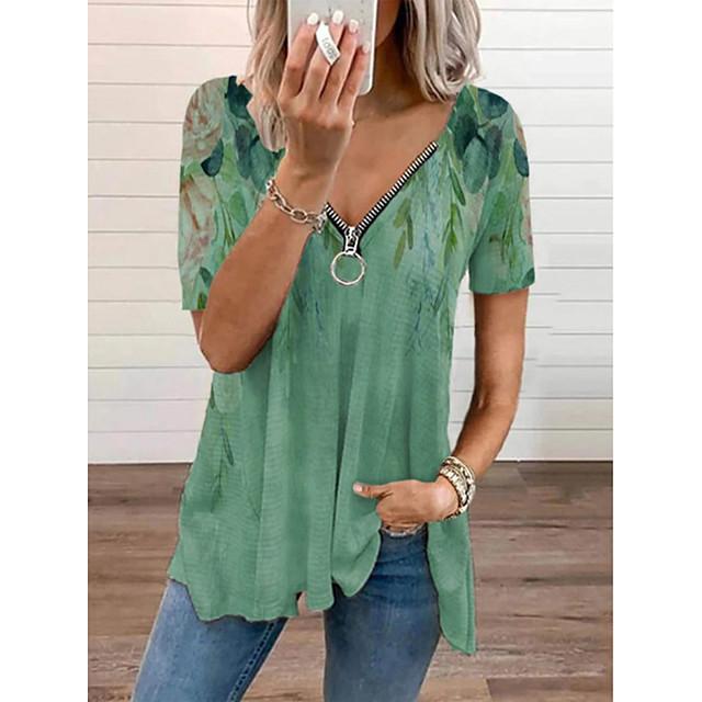 Women's Bohemian Theme T shirt Floral Zipper V Neck Tops Basic Basic Top Green Beige