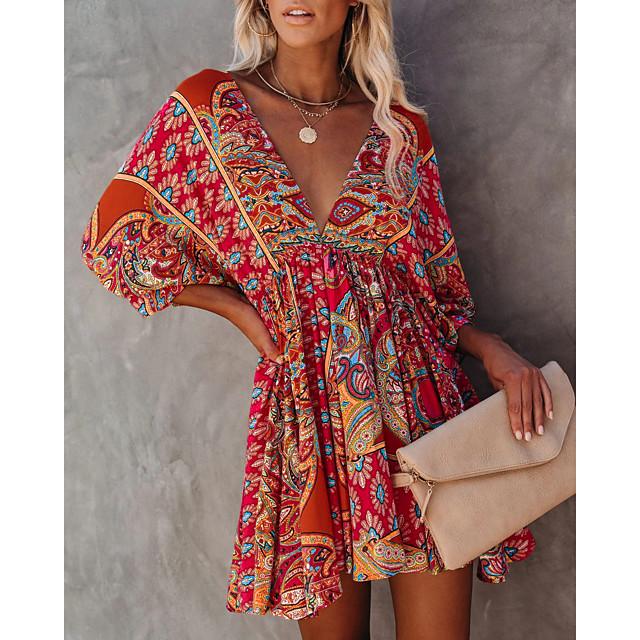 نسائي فستان شكل حرف A فستان طول الركبة 3/4 الكم تصميم للربيع والصيف كاجوال 2021 S M L XL