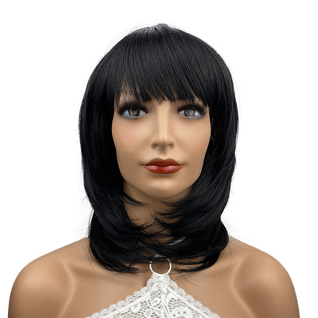 Perruques de cheveux synthétiques résistants à la chaleur de longueur moyenne pour femmes filles avec frange de fête noir naturel