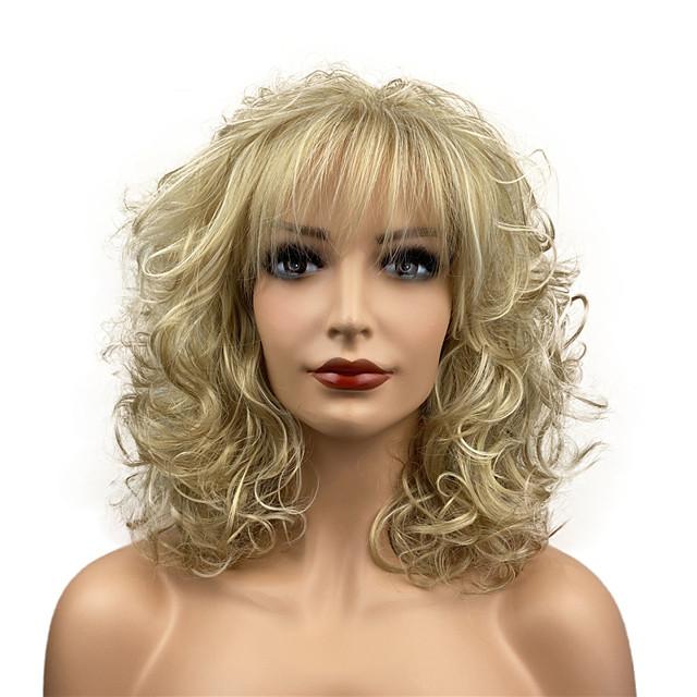 Perruques de cheveux synthétiques bouclés de longueur moyenne résistantes à la chaleur pour les femmes filles avec fête cogne les reflets blonds