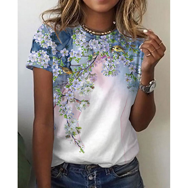 Women's Floral Theme Painting T shirt Floral Bird Print Round Neck Basic Tops White