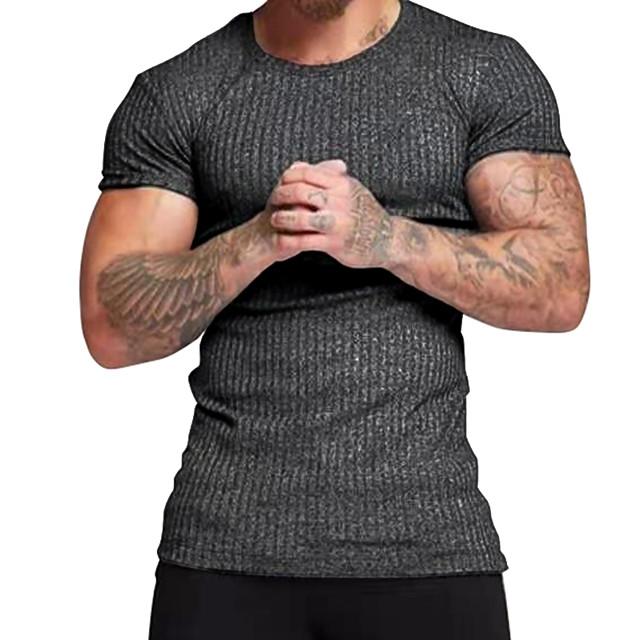 Homme T-shirt Rayé Manches Courtes Quotidien Hauts simple Noir Gris