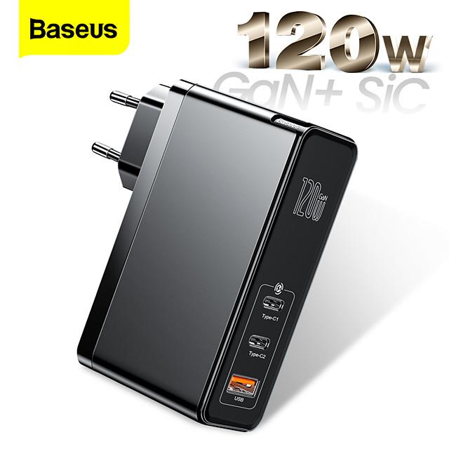 BASEUS 120 W Potenza di uscita USB C Caricatore PD Caricatore veloce Caricatore del telefono Caricatore GaN Caricatore per laptop Caricabatterie portatile con cavo Multiuscita Ricarica veloce Per